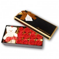 Valentine Special Rose Box With Teddy Bear - Red