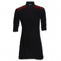 Exclusive Black Indian Linen Eid Panjabi With Red Velvet Flok JC73