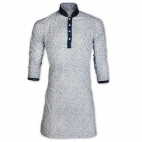 Black Sky Blue Bush Print Cotton Eid Panjabi With Mokmol Placket JC77