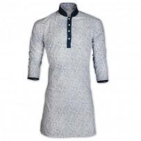 Black Sky Blue Bush Print Cotton Eid Panjabi With Mokmol Placket JC77