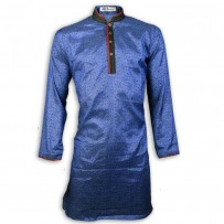 Exclusive Blue Kashmiri Silk Panjabi With Contrast Collar n Placket JC82