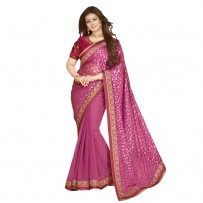 Vinay Exclusive Party Time Pink Designer Georgette Saree WF316