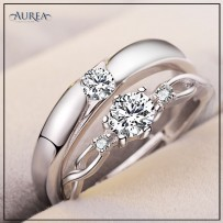 Valentine Special Clear Cubic Zirconia Promise Couple Rings SCR376