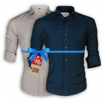 LAVELUX Premium Slim Solid Cotton Casual Shirts : Combo 31