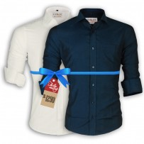 LAVELUX Premium Slim Solid Cotton Casual Shirts : Combo 34