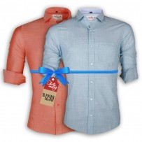 LAVELUX Premium Slim Solid Cotton Casual Shirts : Combo 35