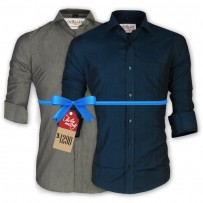 LAVELUX Premium Slim Solid Cotton Formal Shirts : Combo 49