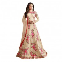 Floral Embroidered Anarkali Off White WF7517