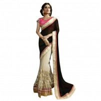 Nirvana Exclusive White & Black Stylish Designer Saree NV005