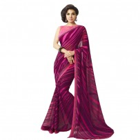 Exclusive Burgundy & Pink Georgette Casual Party Saree NV014