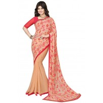 Vinay Exclusive Charming Orange Printed Chiffon Saree  - SW35
