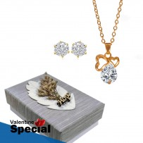 Golden Plated Heart Shape Stone Pendant & Earrings For Women