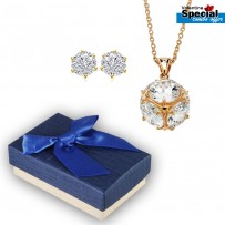 Golden Plated Natural Round Shape Stone Pendant & Earrings For Women