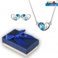 Romantic Platinum Simple Heart Pendant & Earrings For Women