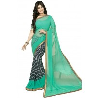 Vinay Exclusive Light Turquoise Printed Chiffon Saree - SW31