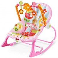 Fisher-Price Pink Bunny Infant to Toddler Rocker with Fold-out Kickstand
