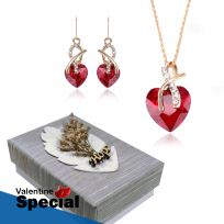 Sweetheart Design Red Pendant Necklace Set With Drop Earrings