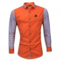 Stylish Printed Cotton Casual Shirt MH27S Red Orange