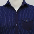 Exclusive Eid Printed Cotton Casual Shirt RO01S Deep Blue
