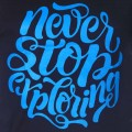 Never Stop Exploring Round Neck T-Shirt MG011 Black