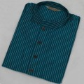 Exclusive Raw Silk Stripe Punjabi SB57P Steel Blue