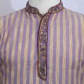 Exclusive Stripe Embroidery Eid Panjabi SB13E Purple