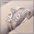 Valentine Special Clear Cubic Zirconia Promise Couple Rings SCR375