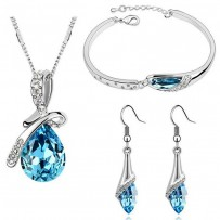 Angel Teardrop Crystal Jewellery Set For Women