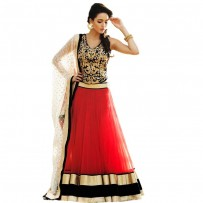 Exclusive Eid Special Designer Red & Black Net Lehenga WF014