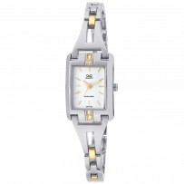 Q&Q Gt77-401Y Women's Silver & Gold Stainless Steel Wrist Watch