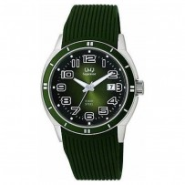 Q&Q P320J345Y Men's Watch Army Green Strap Miyota by Citizen Movement Date