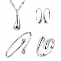 Silver Water Drop Drip Jewelry Set For Women