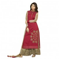Shilpa Shetty Red Raw Silk Embroidered Palazzo Suit WF7516