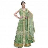 Exclusive Eid Special Heavy Work Floor Length Anarkali Suit Green WF028