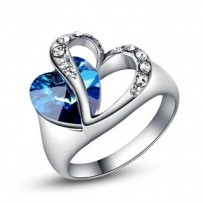 Heart of Ocean Silver Tone Blue Heart Crystal  Finger Ring