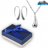 Silver Water Drop Drip Pendant & Earrings For Women