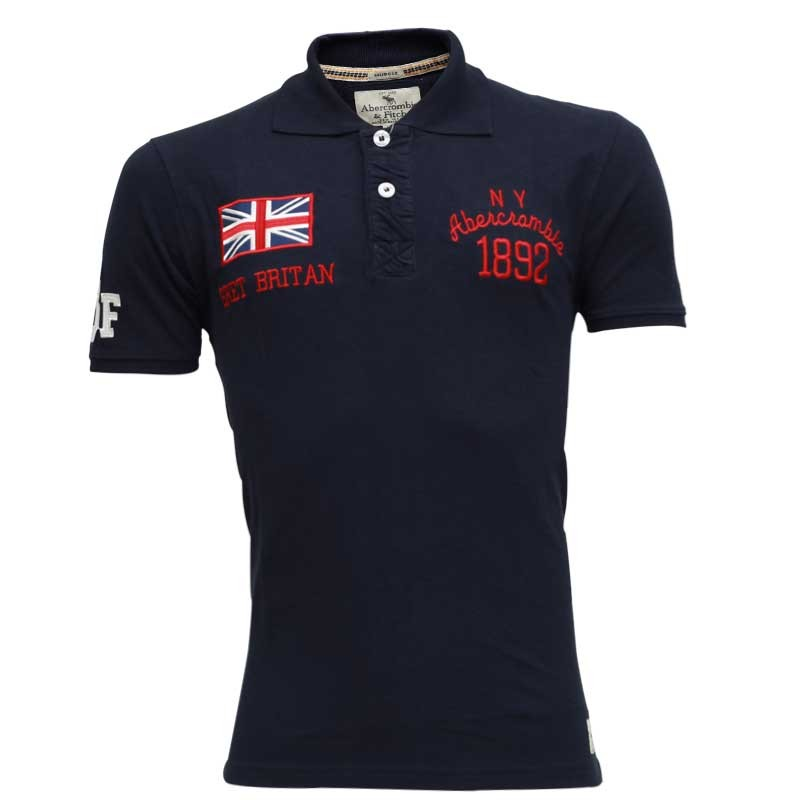 Abercrombie fitch polo shirt sb15p navy blue for Different types of polo shirts