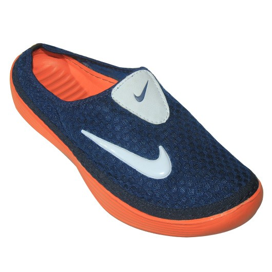 stylish nike half slipper ep2020 navy blue with orange